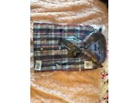 Tommy Hilfiger Poplin Cotton Fitted Shirt Blue Check Size Small