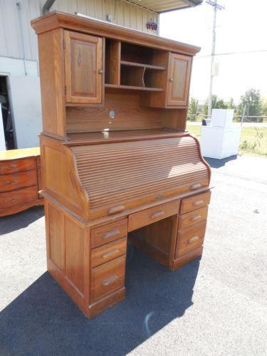 Solid Oak Roll Top Desk Ebay