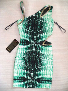 "New With Tags! bebe ""Soiree"" Green Black Print Dress Sz S"