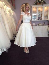 Forget-me-not Designs Tea Length Wedding Dress NEW/UNWORN