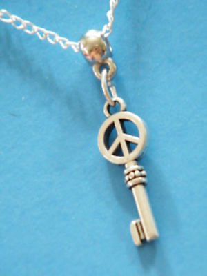 PEACE SIGN Necklace SKELETON KEY Love Rock Roll 1
