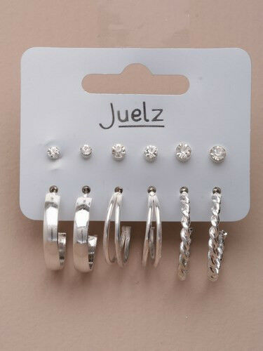 Card of 6 small pairs of silver coloured stud and hoop earrings. - JTY303