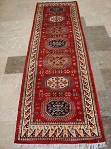 Wow Shirvan Floral Geometric Hand Knotted Soft Hall Way Runner (8.10 x 2.9)'