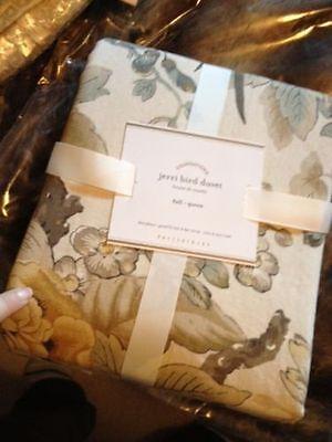 Pottery Barn Jerri Bird Duvet Cover Set Queen 2 Standard Shams Neutral Sparrow