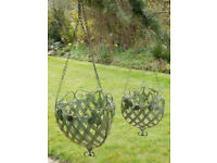 pair of hanging baskets in a robust metal rococo style unused brand new,1 large 1 medium .