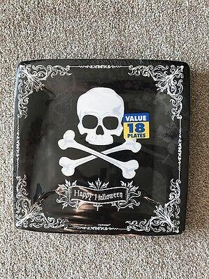 Halloween 'Happy Halloween' Eckig Totenkopf Platten 18 Plates X 26cm (Halloween Papier Platten)