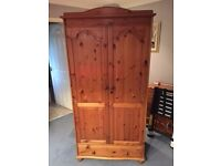 solid pine wardrobe with draw