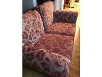 FABRIC TWO SEATER SOFA AND FOOT STOOL IN EXCELLENT CONDITION FREE LOCAL DELIVERY 07486933766