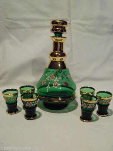 Green Glass Wine Decanter Ebay