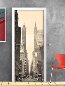 Pt0100 wall stickers adesivi muro porte decorate porta new york sreets 100x21 - Sticker porte new york ...