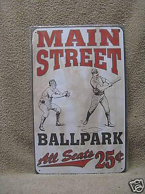 Baseball Ballpark Main Street Vintage look Tin Metal Sign New ()