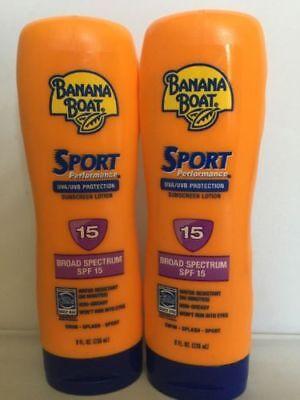 2X Banana Boat Sport Performance Sunscreen Lotion Spf 15 water Resist~ 8 oz each 8 Ounce Banana Boat
