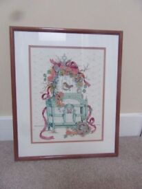 CUSTOM FRAMED X-STITCH PICTURE OLD FASHIONED BIRD CAGE PINK FLOWERS RIBBON