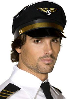 Flight Captain Hat (Pilot Captain Cap Adults Fancy Dress Flight Uniform Mens Costume Accessory Hat)