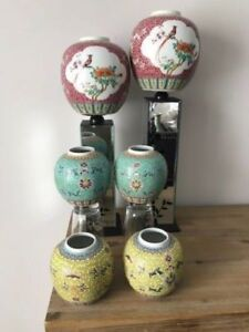 Chinese Jingdezhen Vases Famille Rose, Vert and Jaune Marked