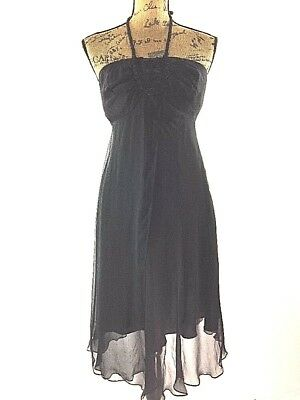 Nicole Miller 4 S Dress 100% Silk Black Crochet Yoke Halter Flirty Midi Party LN ()