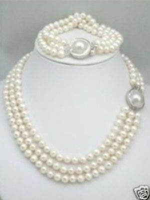 HOT triple strands AAAAA South Sea White Pearl Necklace Bracelet set Mabe (Mabe Clasp)