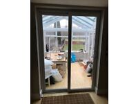 WHITE UPVC DOUBLE GLAZED SLIDING PATIO DOORS 160 CM WIDE Can deliver locally