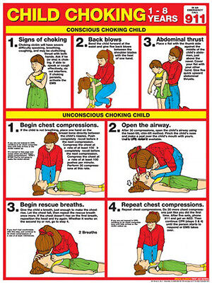 Child CHOKING FIRST AID Instructional Wall Chart Poster (ARC-AHA Guidelines)
