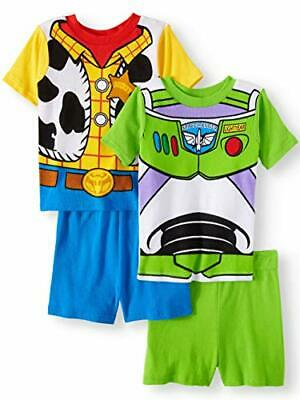 Toy Story Boy's 4-Piece Buzz Lightyear and Woody Costume Pajama Shorts Sets