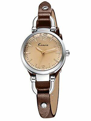 Alienwork Damen-Uhr klein Quarz Armbanduhr mit (Silber/Braun Leder-armband)