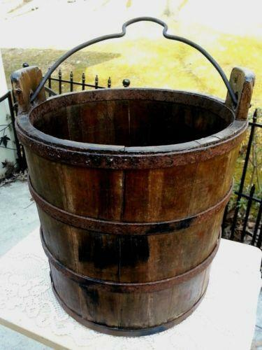 Well bucket primitives ebay for Galvanized well bucket