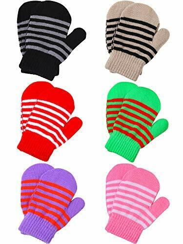 6 Pairs Toddler Baby Mittens Winter Warm Knitted Mittens 2-4T Mixed Colors a