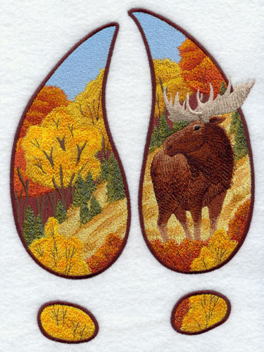 Embroidered Fleece Jacket - Moose Track Scene Autumn G6935 Sizes S - XXL