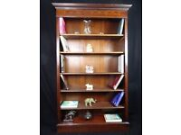 Large Antique Regency Sheraton Style Inlaid Mahogany Open Front Library Bookcase