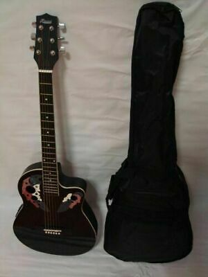 6 String Acoustic Electric Guitar, Round Back, Black, Free Gig Bag New