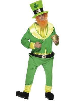 Green Leprechaun Suit + Hat + Beard Mens St Patricks Irish Fancy Dress Costume - Leprechaun Suit