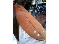 "Takayama 'egg' surfboard - rare wooden veneer, 7'10"""
