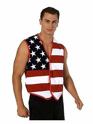 NEW Rubies Costume Mens Stars and Stripes Vest  Multi-Colored  One Size](Rubies Costume Sizing)