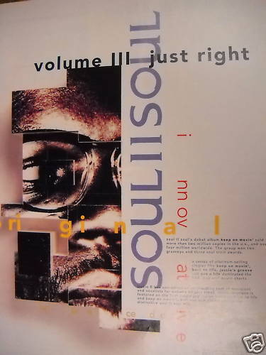 SOUL II SOUL is JUST RIGHT! 1992 Promo Poster Ad MINT!