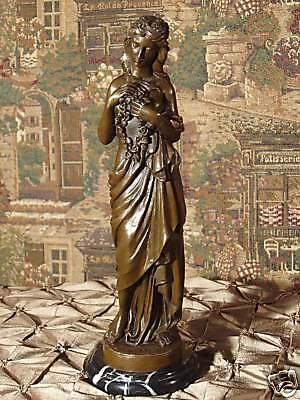 Rich Bronze Metal Statue on Marble Classical Woman Flower Mother Art Sculpture