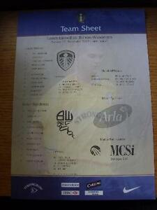 17-11-2002-Colour-Teamsheet-Leeds-United-v-Bolton-Wanderers-Creased-Folded