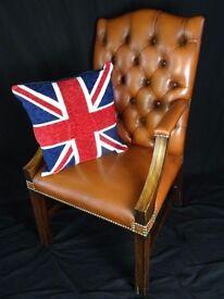 Fine Handmade Regency Leather Chesterfield Gainsborough Style Office Armchair