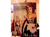 GIRLS BROKEN DOLL FANCY DRESS OUTFIT AGE 10/12 YEARS aGREAT FOR HALLOWEEN PARTY