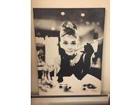 AUDREY HEPBURN BLACK AND WHITE CANVAS 80cm x 60cm