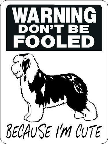 """0579 Old English Sheepdog 12""""x18"""" Aluminum Sign"""