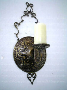 Unique Antique Style Brass Candle Holder Wall Sconce