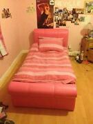 Pink Leather Single Bed