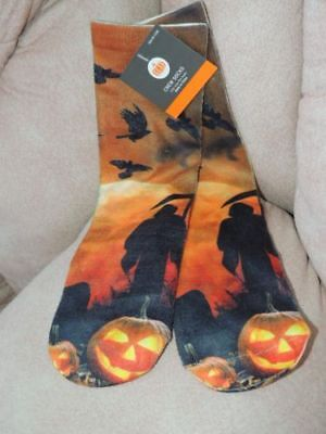 New Most Haunted Halloween (Adult Halloween ** HAUNTED PUMPKIN PATCH CREW SOCKS ** NWT ONE SIZE FITS)