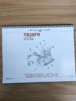 Takeuchi Tb28fr Parts Manual Sn 12820004 And Up Free Priority Shipping