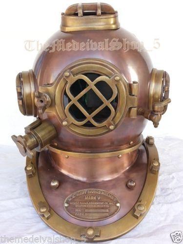 """Antique US Navy Full Diving helmet 18"""" Divers helmet Deep sea Vintage Helmet"""
