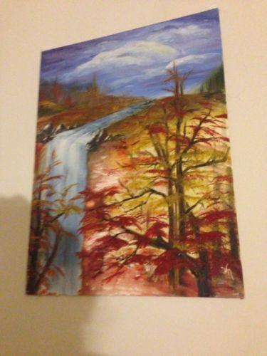 Waterfall painting ebay