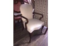 MINT CONDITION PAIR OF VICTORIAN ARM CHAIRS UPHOLSTERED IN WHITE SILK BROCADE MINT CONDITION