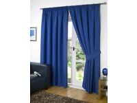 "Pair of blue blackout curtains (90"" or 230 cm drop)"
