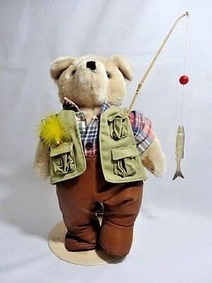 Plush Bear Fly Fishing Doll Waders Vest Plaid Shirt Bamboo Rod Rubber Fish Lure  for sale  Oakhurst