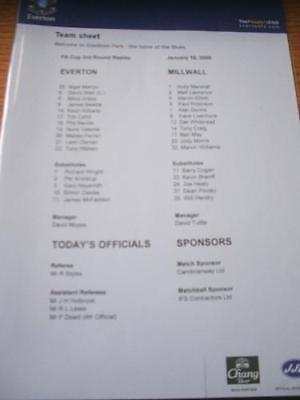 18/01/2006 Colour Teamsheet: Everton v Millwall [FA Cup